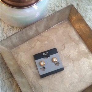 Jewelry - Gold Cubic Zirconia Clip on Stud Earrings